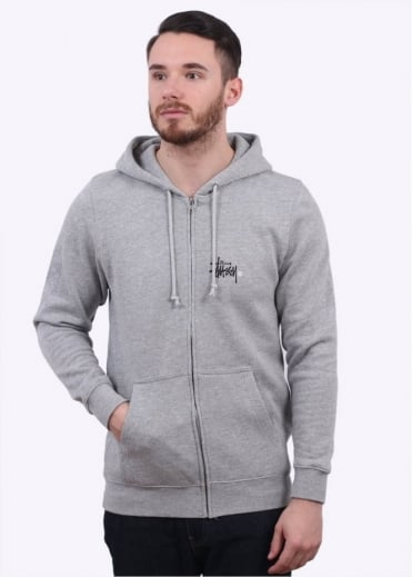 Stussy Basic Logo Zip Hoody - Heather Grey