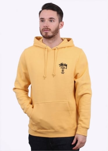 Stussy World Tour Hoody - Faded Yellow