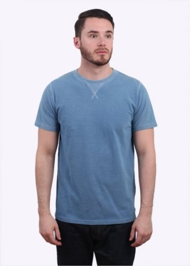 Norse Projects Niels Indigo Pique Tee - Light Indigo