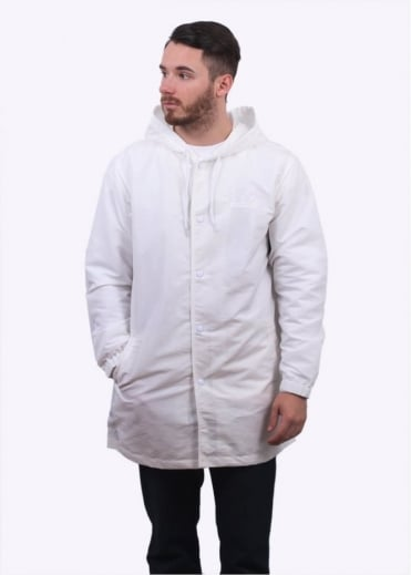 Stussy Logo Hooded Coach Jacket - White