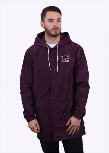 Stussy Logo Hooded Coach Jacket - Purple