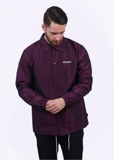 Stussy Logo Coach Jacket - Purple