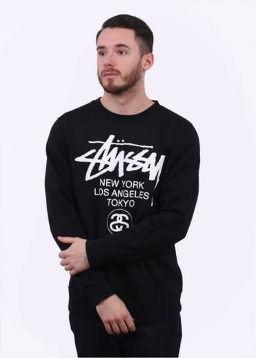Stussy World Tour Crewneck Sweater - Black