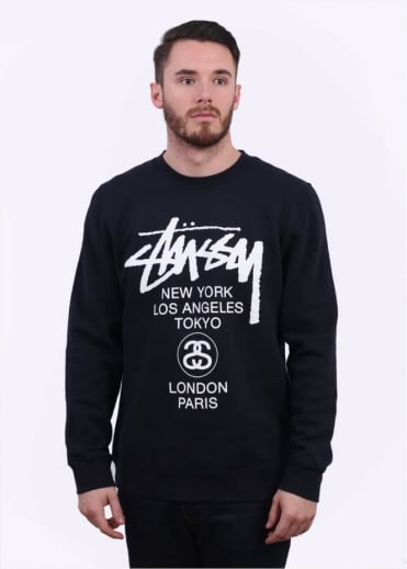 Stussy World Tour Sweater - Navy