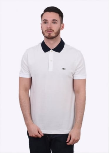 Lacoste Block Colour Polo Shirt - White / Navy
