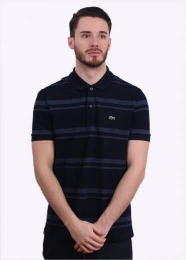 Lacoste SS Striped Polo - Navy
