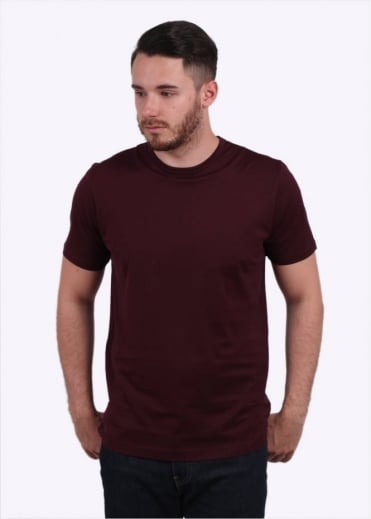 Sunspel Q82 Short Sleeve Crew Neck Tee - Dark Redbrick