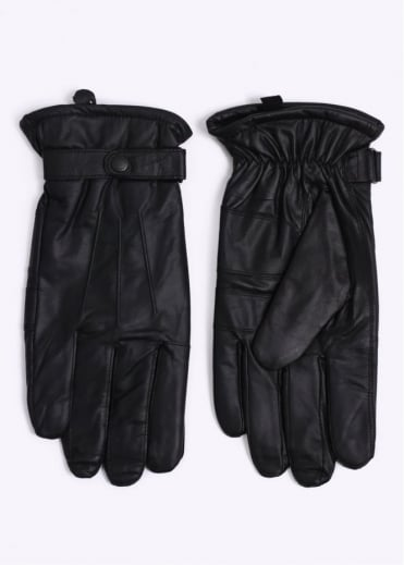 Barbour Burnished Leather Gloves - Black