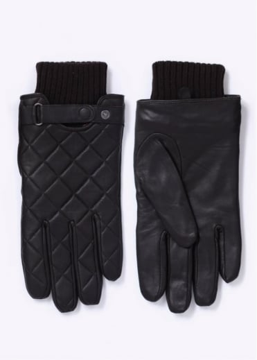 Barbour Quilted Leather Gloves - Dark Brown