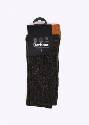 Barbour Houghton Socks - Green / Gold