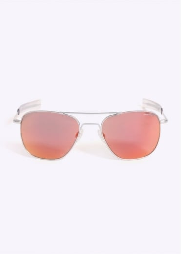 Randolph Engineering Aviator Sunglasses - Matte Chrome / Orange