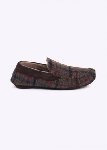 Barbour Monty Slippers - Olive Check