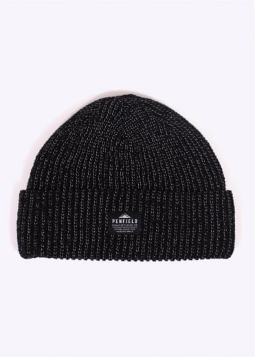 Penfield Twist Reflective Beanie - Black