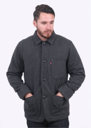Levi's Red Tab Wool Engineers Coat - Black Heather