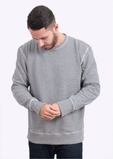 Jungmaven Crewneck Sweatshirt 9.6oz - Blue Stripe
