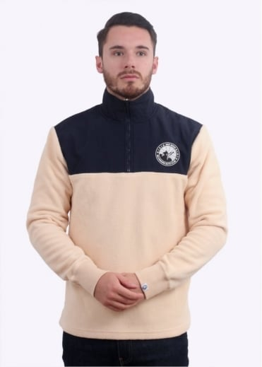 Billionaire Boys Club Half-Zip Funnel Sweatshirt - Beige / Navy