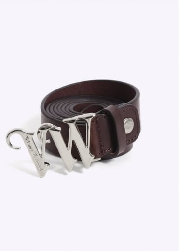 Vivienne Westwood Mens Silver Logo Buckle Belt - Brown