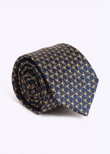 Vivienne Westwood Mens Multiple Orb Tie - Navy / Gold