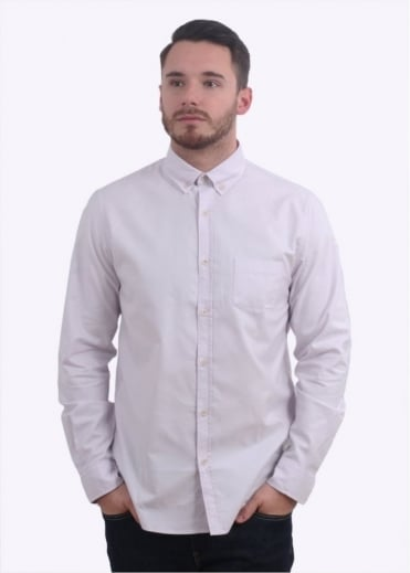 Sunspel LS Button Down Washed Shirt - Lilac Ash