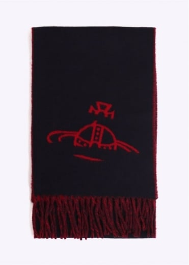 Vivienne Westwood Accessories Orb Logo Scarf - Red / Navy