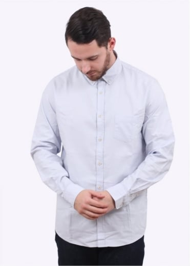 Sunspel LS Button Down Washed Shirt - Grey