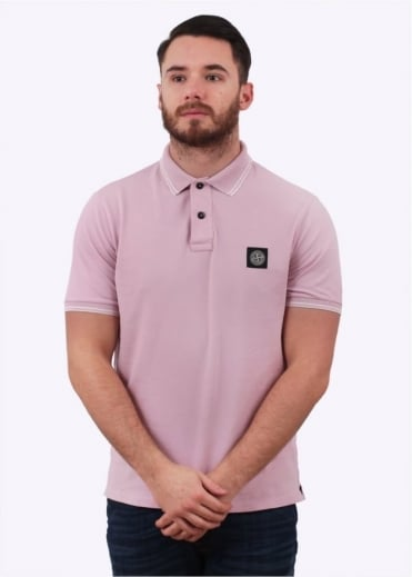 Stone Island Patch Program Logo Polo Shirt - Pink
