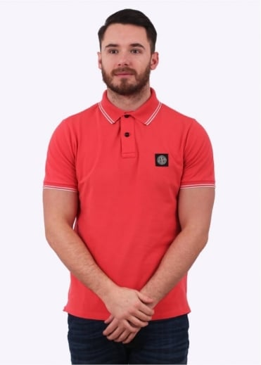 Stone Island Patch Program Logo Polo Shirt - Red