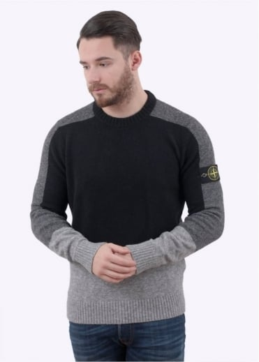 Stone Island Knit Jumper Black / Charcoal / Green