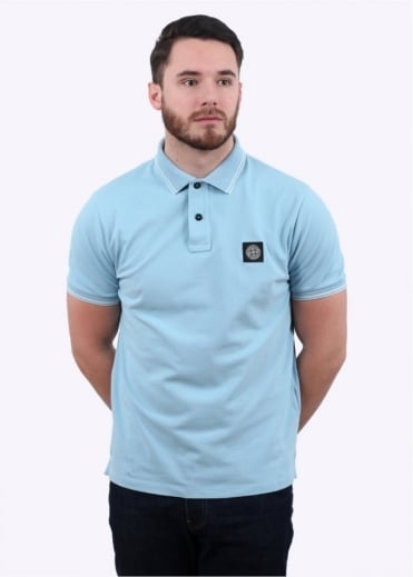 Stone Island Patch Program Logo Polo Shirt - Sky Blue