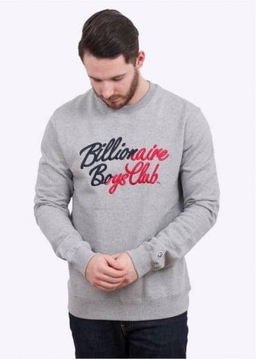 Billionaire Boys Club Script Embroidered Crewneck - Heather Grey