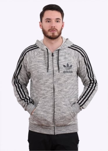 Adidas Originals Apparel Full Zip Hoody - Grey / Black