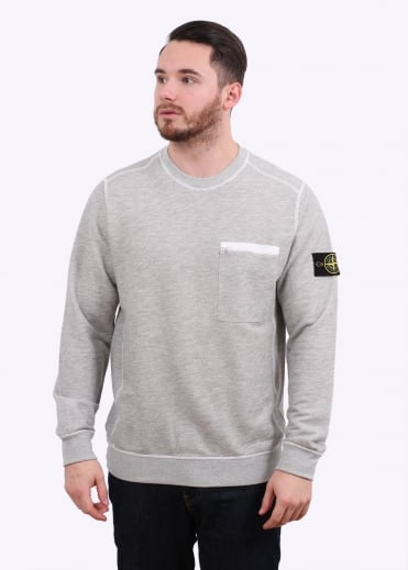 Stone Island Zip Pocket Sweat - Pearl Grey