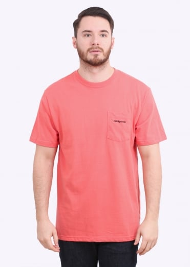 Patagonia P-6 Logo Pocket Tee - Spiced Coral