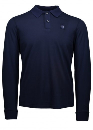 C.P. Company Long Sleeve Polo - Blue Print