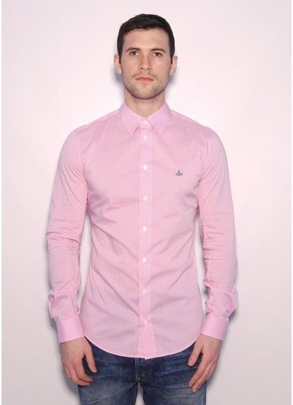 Mens Pink Check Shirt