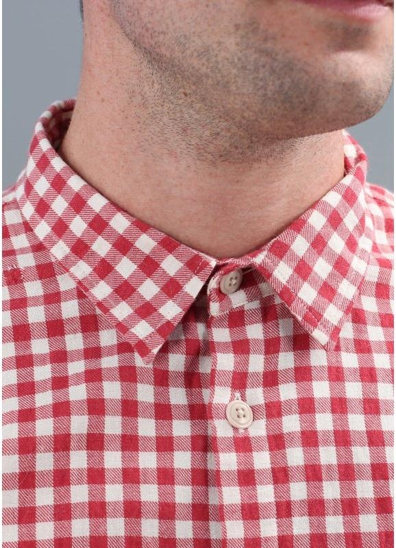 Folk Printed Elbow Patch Shirt Red