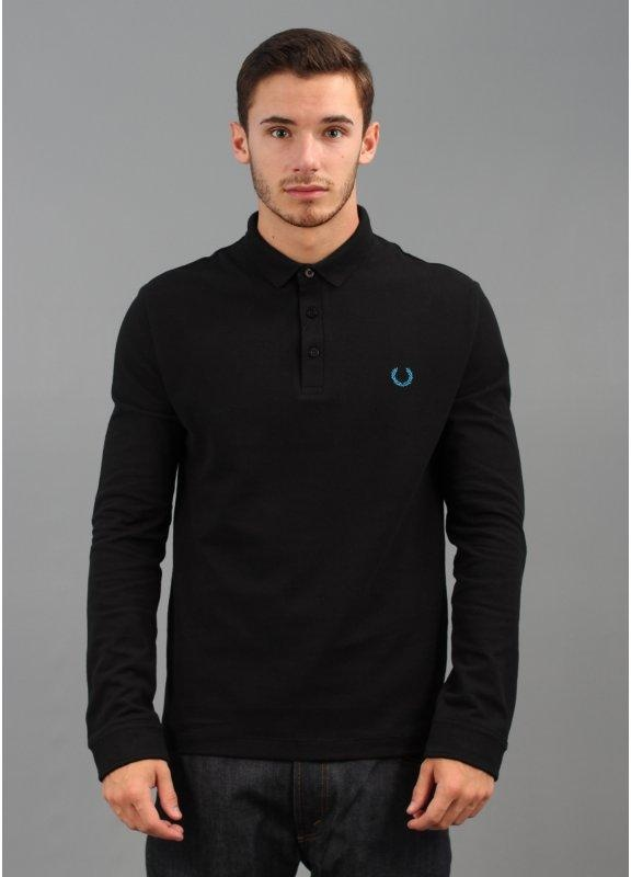 Fred perry laurel wreath three button polo shirt black for 3 button polo shirts