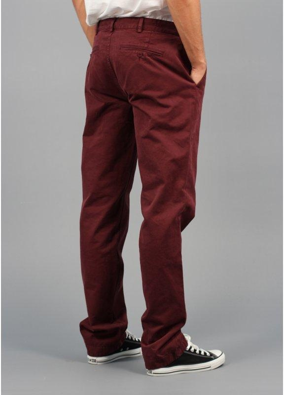 Personally, I think navy looks good with burgundy. I have some burgundy slim fit chinos and often wear them with a dark denim shirt or navy sweater. The is a .