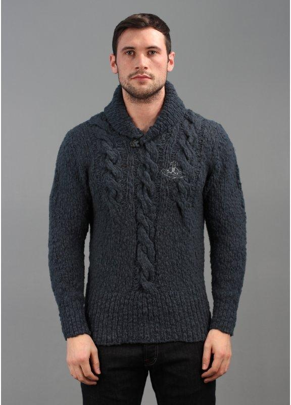 Knitting Mens Jumpers : Vivienne westwood logo knit jumper petrol