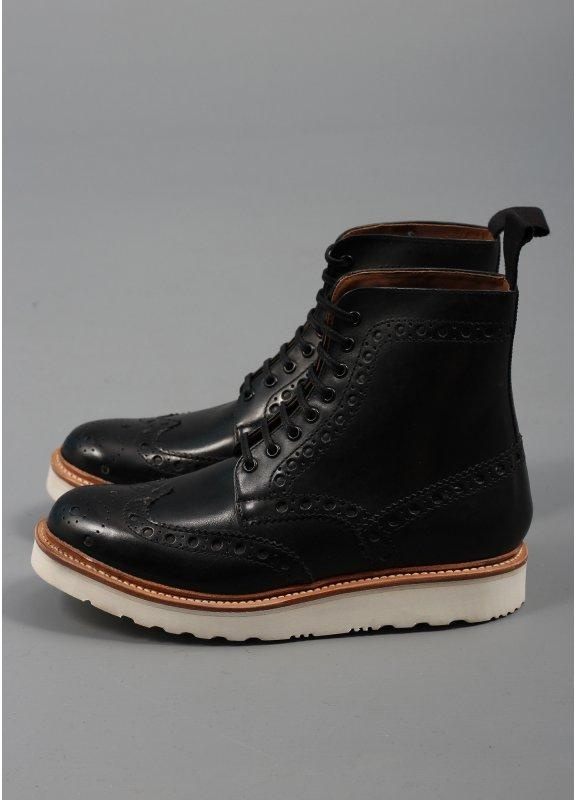 grenson fred vibram leather boots black grenson from
