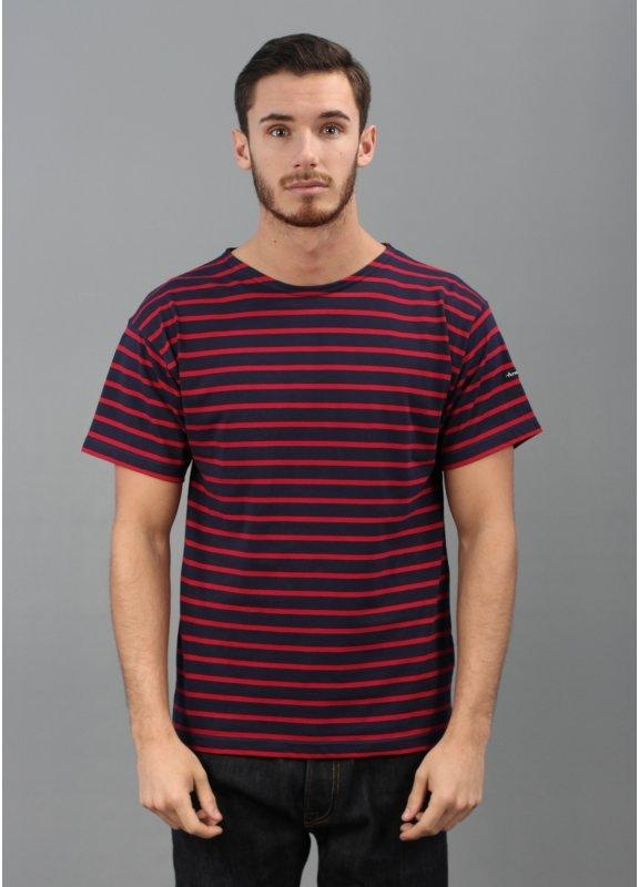 Armor lux theviec breton stripe t shirt blue red for Red blue striped shirt