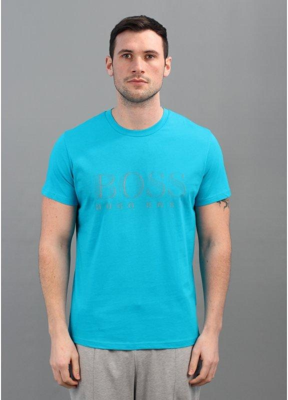 hugo boss green classic logo t shirt aqua blue. Black Bedroom Furniture Sets. Home Design Ideas