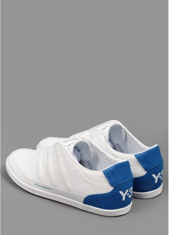 Adidas Y3 Honja Low Leather Trainers White Blue