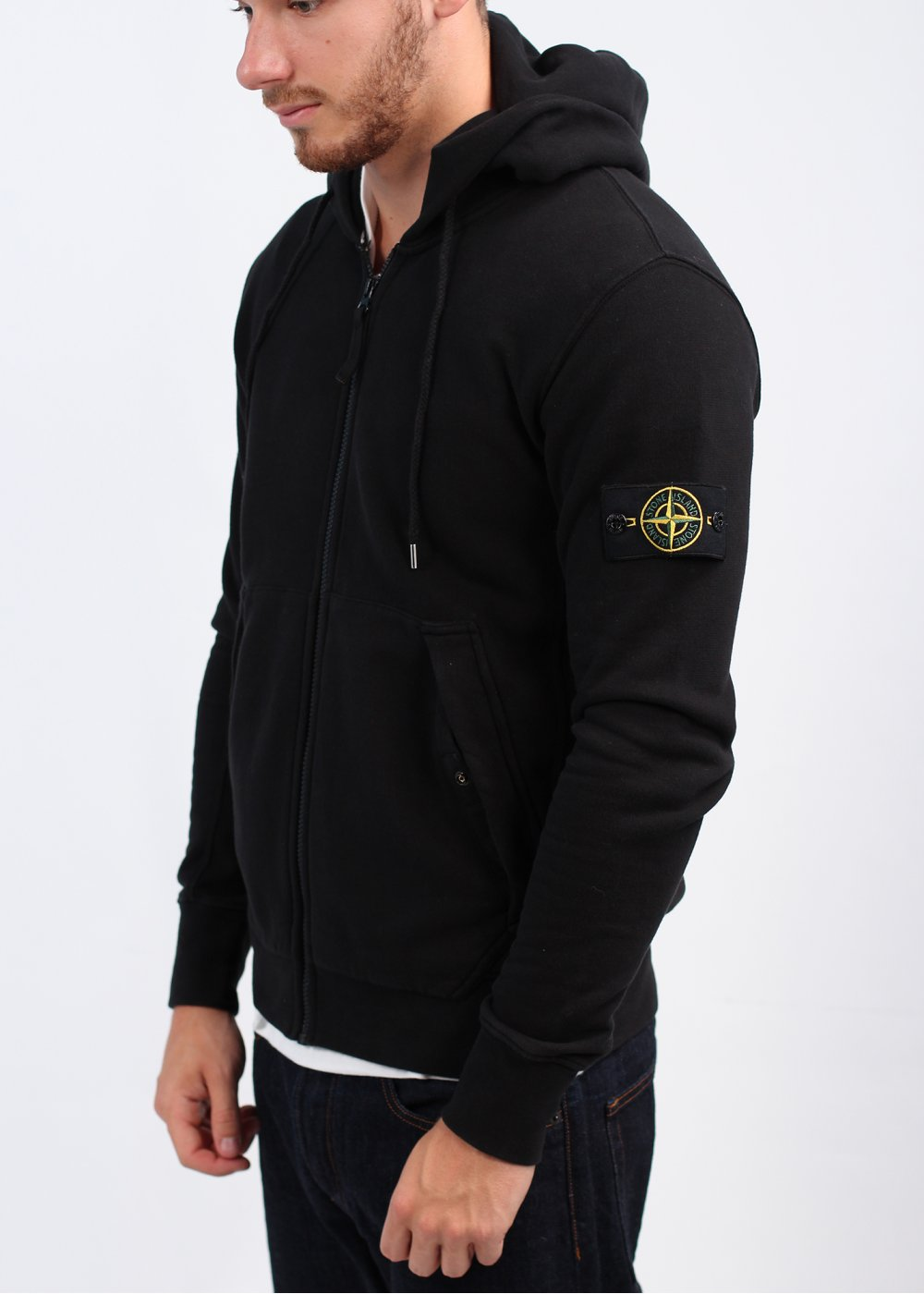 stone island linen fleece zip knit sweatshirt jacket. Black Bedroom Furniture Sets. Home Design Ideas
