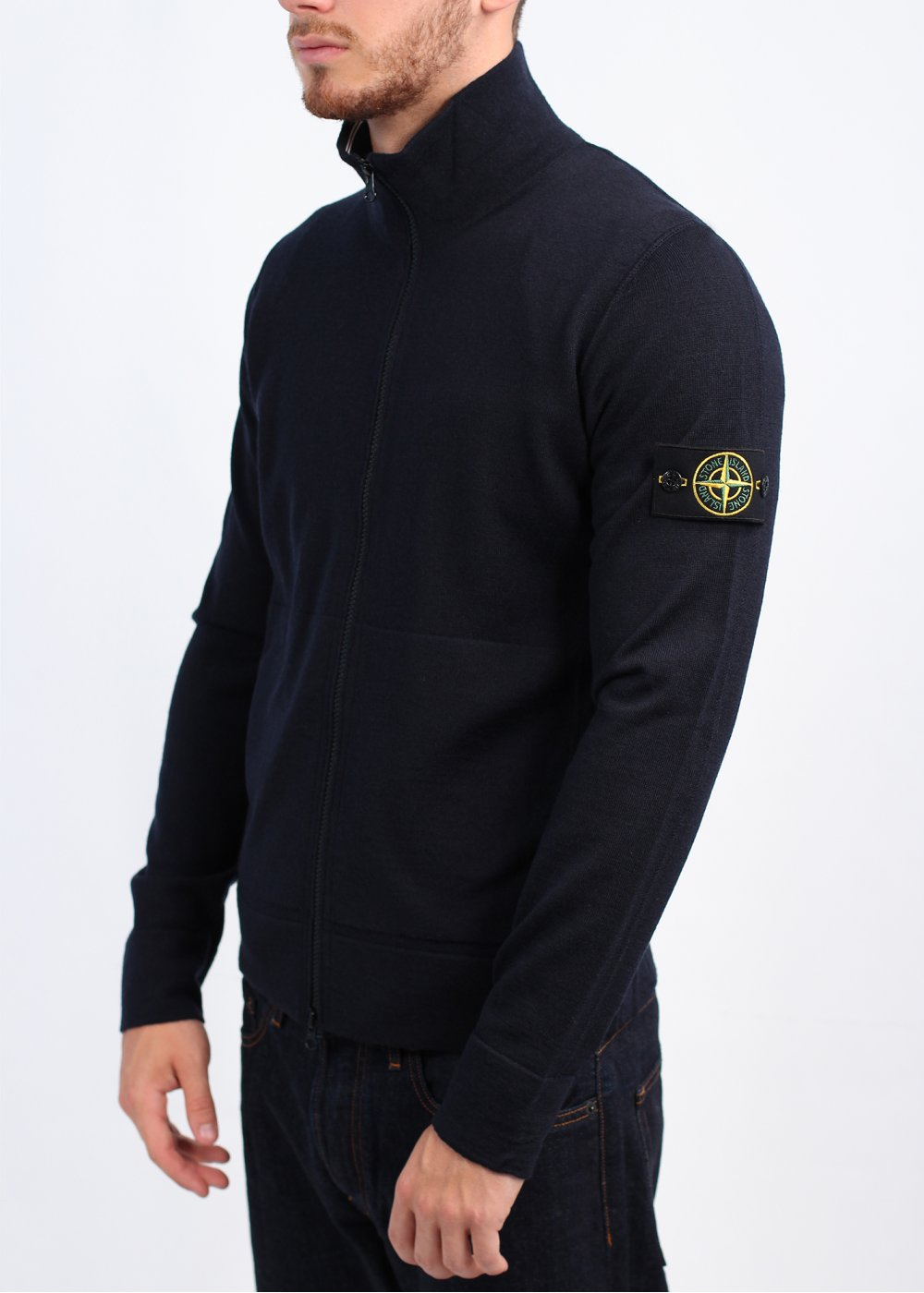 stone island zip knitwear navy. Black Bedroom Furniture Sets. Home Design Ideas