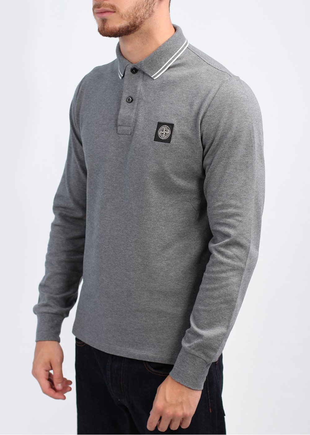 Stone Island Long Sleeve Trim Polo Shirt Dark Grey