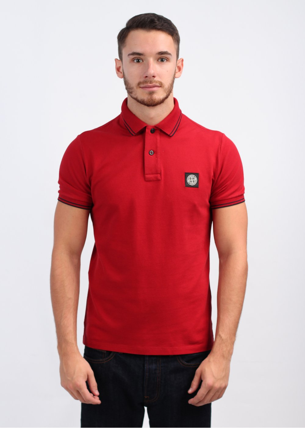 Stone island short sleeve trim polo shirt red for Made to measure casual shirts
