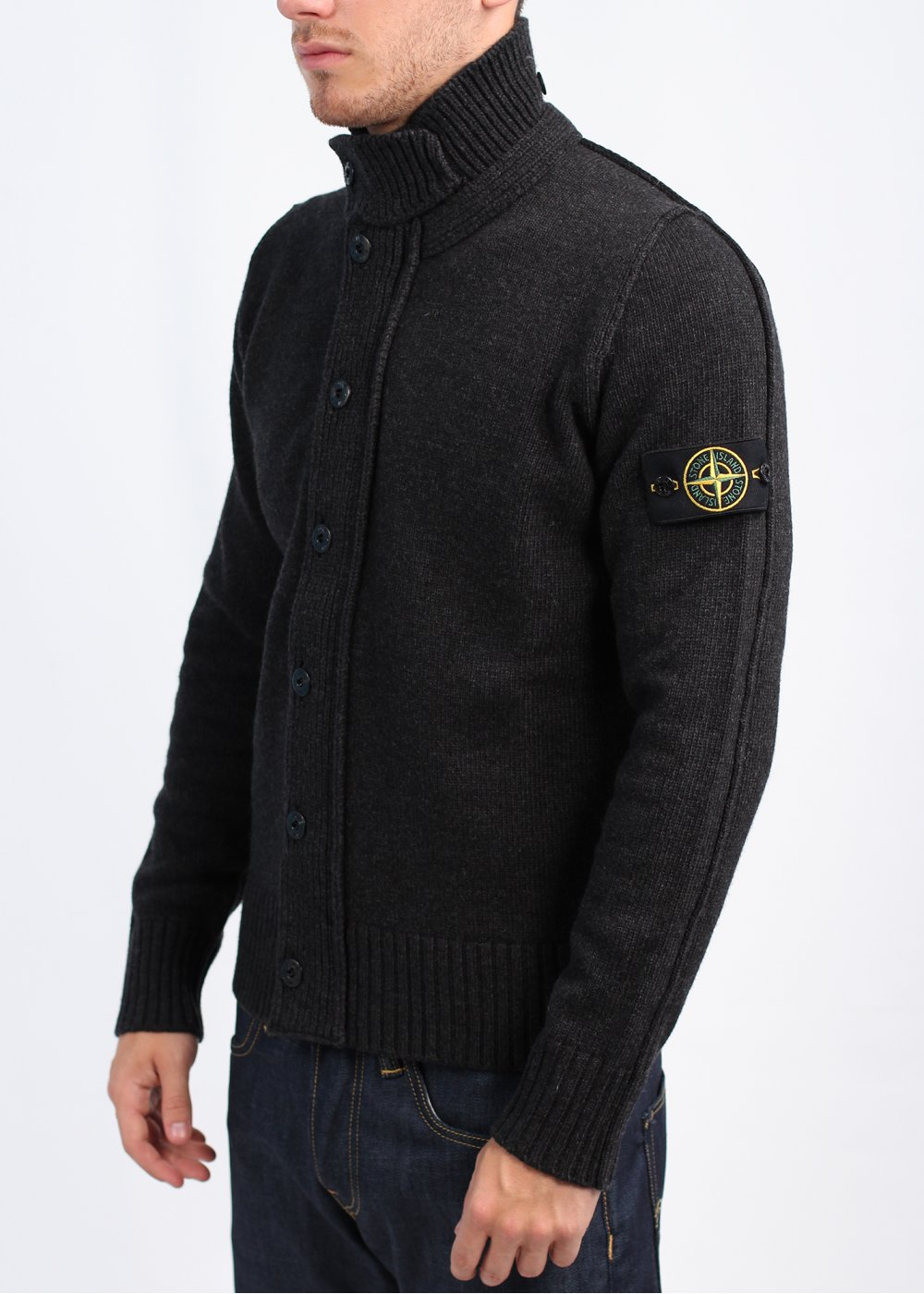 stone island charcoal zip through sweater l. Black Bedroom Furniture Sets. Home Design Ideas