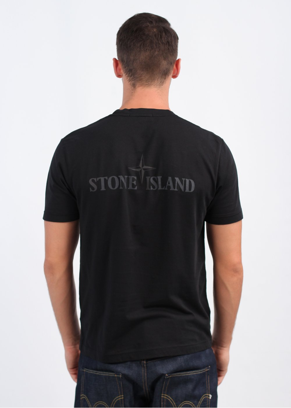stone island reflective logo tee black. Black Bedroom Furniture Sets. Home Design Ideas