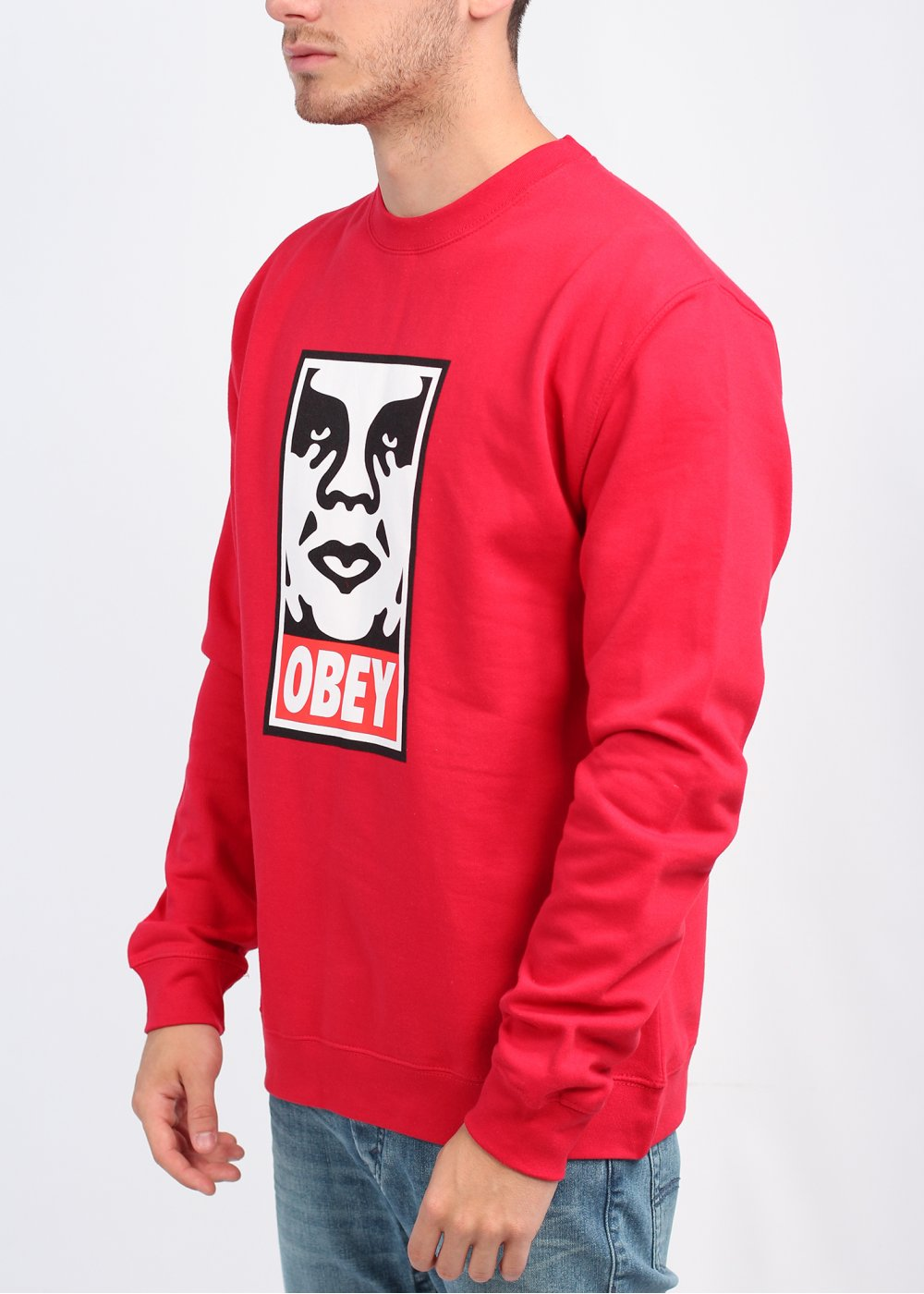 Obey OG Face Crew Sweater - Red - Obey from Triads UK
